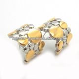 Classical charming design part gold plated 316L stainless steel diamond stud earrings factory manufacturing (LE2204)