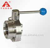 Sanitary threaded and welded ends butterfly valve