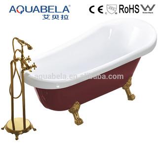 Red Acrylic Freestanding Clawfoot Bathtub