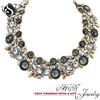 Fashion Necklace, Alloy Choker Necklace with Shining Acrylic Stone