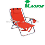 selling 2014 5-position adjustable folding beach chair with wood armrest and low seat