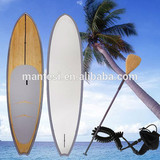 10foot4 Silver Epoxy Fiberglass Stand Up Paddle Board Sup Bamboo Veneer Finish Fcs Fins Bamboo Blade Non-Slip Grip