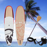 11foot Red Epoxy Fiberglass Stand Up Paddle Board Sup Bamboo Veneer Finish Fcs Fins Bamboo Blade Non-Slip Grip