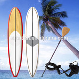 12foot6 Red Epoxy Fiberglass Stand Up Paddle Board Sup Bamboo Veneer Finish Fcs Fins Bamboo Blade Non-Slip Grip