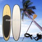 10foot4 Black Epoxy Fiberglass Stand Up Paddle Board Sup Bamboo Veneer Finish Fcs Fins Bamboo Blade Non-Slip Grip