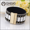 High quality magnetic bracelets rhienstone new leather rhienstone bracelet