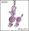 New Fashion Pink Crystal Poodle Metal keychain