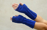 Long Mittens Knit Fingerless Gloves Electric Blue Arm Warmers