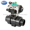 """double union 4"""" pvc ball valve for with double acting pneumatic actuator"""