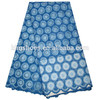 Royal blue high quality african swiss lace fabric sewing for wedding dress cloth