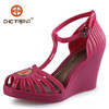 2014 Ladies Hollow Out Sandals Wedges Jelly Sandals Bohemian High-heel Sandals