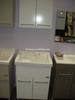 High Quality Solid Wood Bathroom Cabinet, Glass Wash Basin, PVC Bathroom Vanity