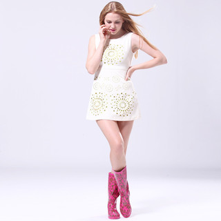 pink high knee fashion rain boot womens shoes