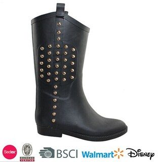 fashionable womens ankle rubber boots with rivets