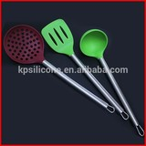 Kitchen silicone set of 3 sets with soup ladle slotted turner and strainer