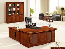 Antique MDF Board Executive Bow Front Desk (FOHS-A2059)