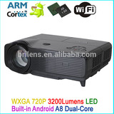 3000 lumen native 720P hd 3d led android projector phone wifi 3g