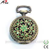 flower green printing ladies modern pocket watch japan movt quartz pocket watch