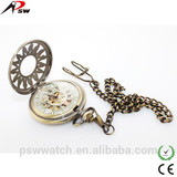 luxury mechanical skeleton pocket watch custom enamel pocket watch