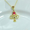 2014 New Trendy Gold Plating Jewelry Cheap Price Gemstone Necklace 24k Gold Plated