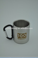 High qualtity double wall stainless steel coffee mug with carabiner handle