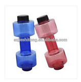 Clear transparent creative plastic water bottle, dumbbell shape bottle, potable plastic dumbbell bottles