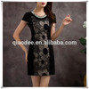 New summer wear knitting organza embroidered nail bead women's casual dress