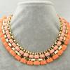 OU4774 wholesale jewelry fashion,Pink Orange Rhinstone Bib Necklace Gold Chain