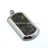Custom Stainless Steel Camo Pendant , Green Camo Inlaid 316L Stainless Steel Pendant/Dog Tag