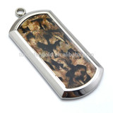 Custom Stainless Steel Camo Pendant , Charming Jewelry Brown Camo Inlaid 316L Stainless Steel Dog Tag/Pendant
