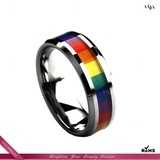 fashion tungsten carbide ring multi-color rainbow ring VJR-019