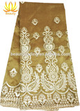 high quality gold george lace fabric for lady evening dress