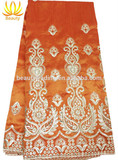 high quality orange geroge lace for lady evening dress