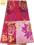 fushia pink wholesale brocade fabric for lady skirt matching for the velvet