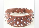 RED PU LEATHER LARGE SPIKE DOG COLLAR