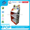 Supermarket 3 tiers red cardboard floor display stand children stationery items display rack