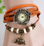 Rococo F1002 Womens Braided Cow Leather Watch with tree leaf butterfly Eiffel Tower charm