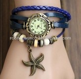 Rococo F1001 Fashion handmade braid Wristwatches Jewelry Vintage red Cow Leather Unisex Bracelet Watch