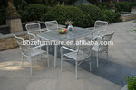 wicker rattan white color dining chair and table, staking chair