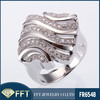 stripe and white cz 925 sterling silver silver ring