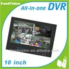 4 CH h.264 dvr with 10 inch lcd monitor all in one dvr