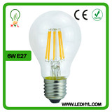 2014 New products A60 led bulb filament, e27 6w led filament bulb