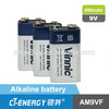 Alkaline dry battery 6LR61 9v alkaline battery(CE, ROHS compliant)