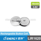 9v rechargeable coin cell configuration battery /3.6v lithium ion battery LIR1620