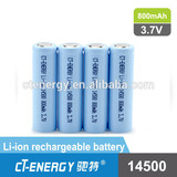 3.7V Li-ion rechargeabel battery Li-ion 14500 800mAh
