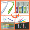 Plastic interdental brush picks with stainless steel wire head