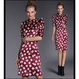 2015 fashion polyester and  silk bow half sleeve lady dress China dress manufacturers supplier