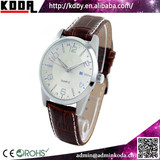 2015 KODA new product day date genuine leather stainless steel case men wrist watch