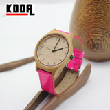 New Arrival colorful Leather Strap Bamboo Watch Wholesale Wood Watch