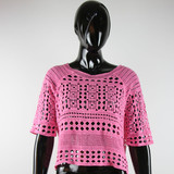 100 cotton fashion design ladies pink lace blouse